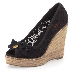EUC Tory Burch Jackie Lace Espadrille Wedge, Black